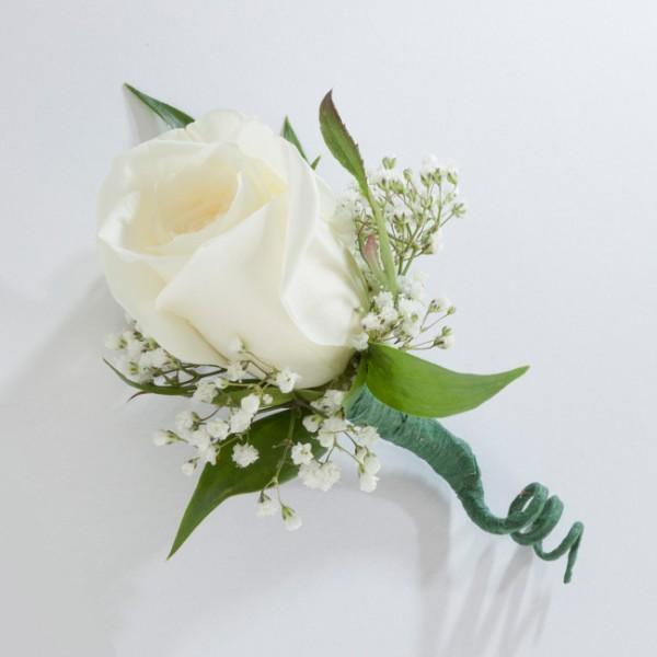 White Rose Boutonniere - Excellent Florists