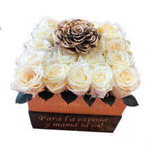 Load image into Gallery viewer, Medium Square White and Gold Preserved Roses