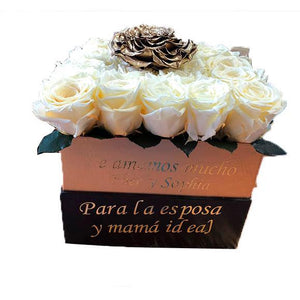 Medium Square White and Gold Preserved Roses