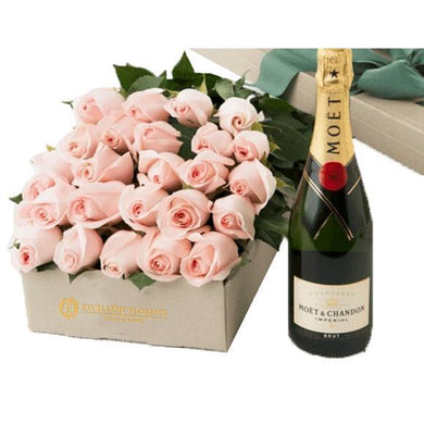 24 roses gift box and Champage