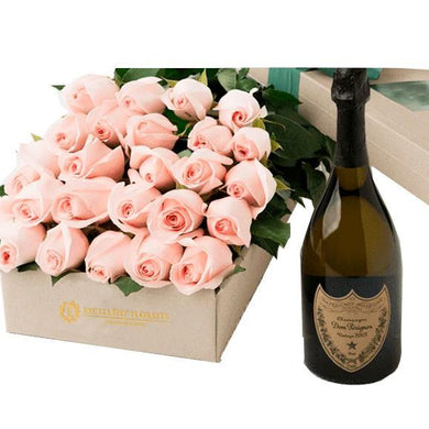 24 roses gift box with luxurious Dom Perignon Champagne