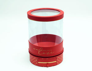 Rotatable Clear Round Shape Flower Box with Red Lid and Base