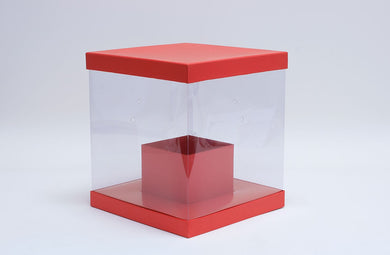 Clear Square Flower Box with Red Lid and Base