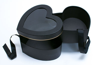 Black Heart Shape Flower Box with Window Lid (Two-Layers)