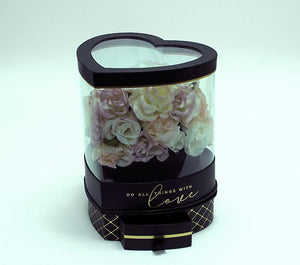 Rotatable Clear Heart Shape Flower Box with Black Lid and Base
