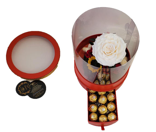 Garden of preserved roses and chocolates includes a jumbo in a luxury box