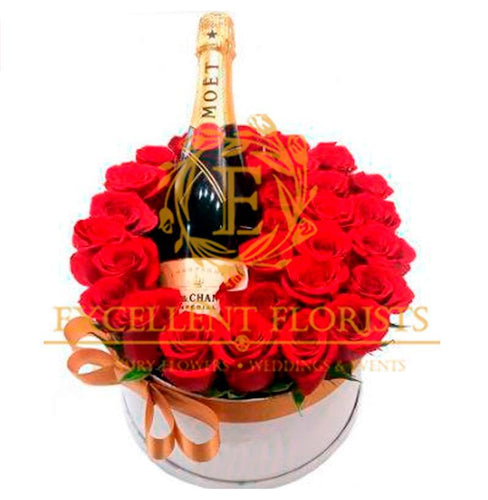 Red roses and Moet Champage