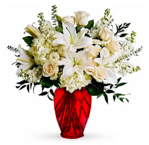 White Roses and Lilies in a red vase