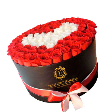 Bicolor Red and White Preserved Rose Round box