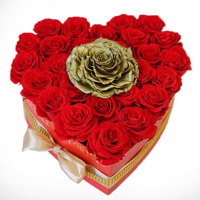 Golden and red Heart 28 Red and 1 Jumbo Preserved roses