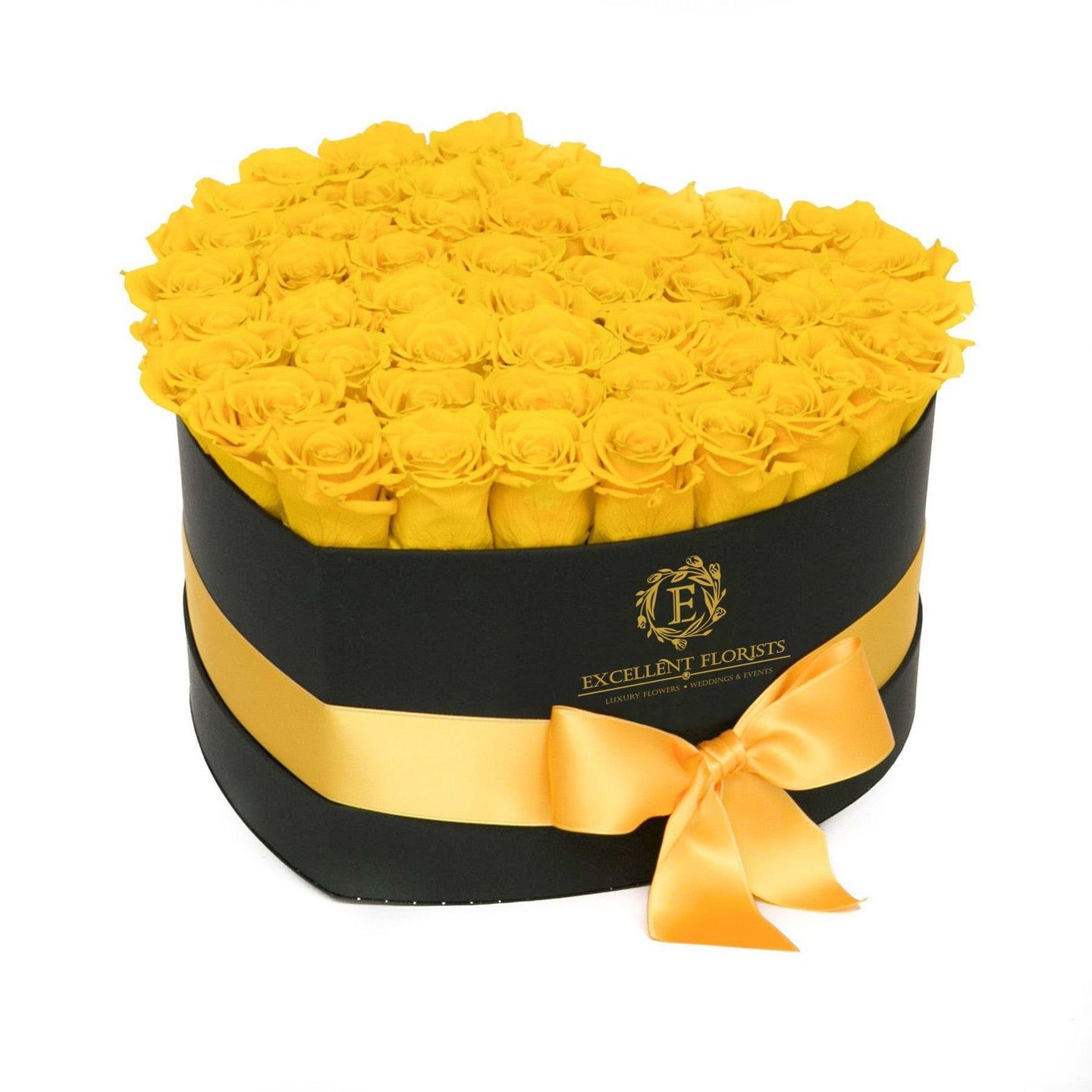 Heart Box Yellow Preserved roses
