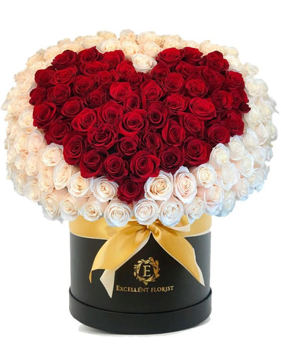 100 heart design roses in a luxury box
