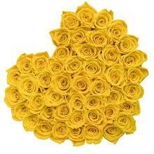 Load image into Gallery viewer, Heart Box Yellow Preserved roses