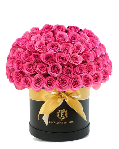 100 pink roses in a luxury box