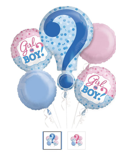 New Baby Girl or Boy 2 Balloon Bouquet 5pc