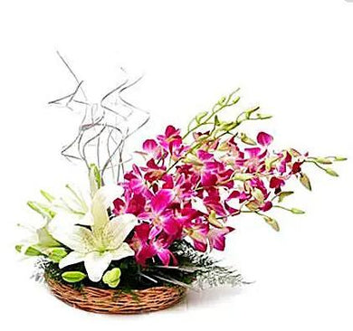 Lilies and Orchids in a basket