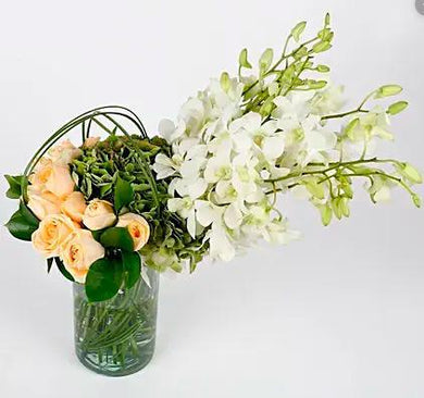 Orchids, Roses and White Hydrangeas in a Vase