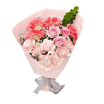 Pinky Flowers Bouquet with Greenery * VASE NOT INCLUDED