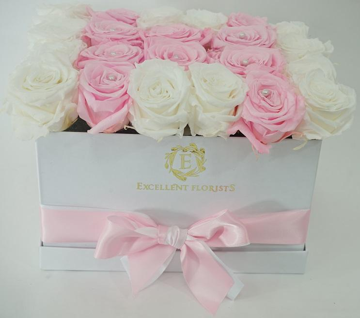 Medium Square Light Pink Preserved Roses - Excellent Florists