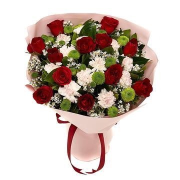 Red and White Rose Bouquet with Greenery * VASE NOT INCLUDED