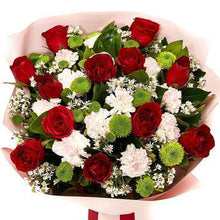 Load image into Gallery viewer, Red and White Rose Bouquet with Greenery * VASE NOT INCLUDED