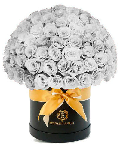 50 white roses in a fancy luxury box