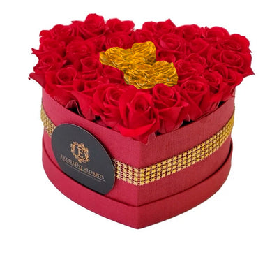 Heart Red Preserved Mini Rose red and gold Box promotion