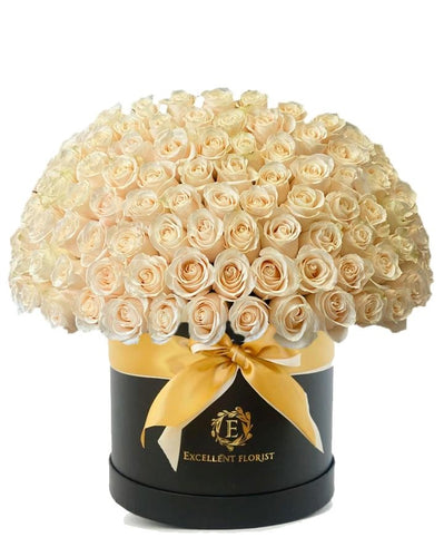 100 light roses in a luxury box