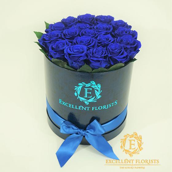 Royal Blue Roses box - Excellent Florists