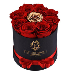 Small Round Red & Gold Preserved Roses ( 9 roses ) - Excellent Florists