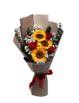 Sunflower and Rose Bouquet with Greenery * VASE NOT INCLUDED