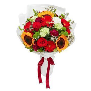 Sunflowers and multicolor Bouquet with Greenery * VASE NOT INCLUDED