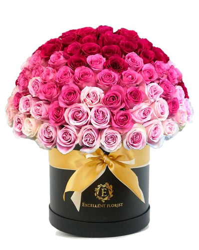 100 tricolor roses in a luxury box