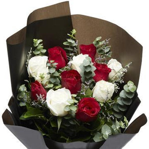 Dozen Mix color rose Bouquet with Greenery * VASE NOT INCLUDED
