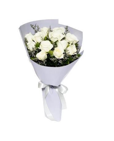 White Roses Bouquet with Greenery * VASE NOT INCLUDED