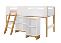 white and oak mid sleeper cabin bed with desk and shelving unit