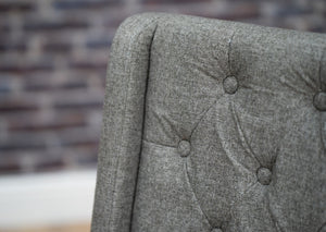 Studded and Buttoned Luxury Dining Chair - Dark Grey