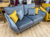 vevlet grey small 2 seater sofa