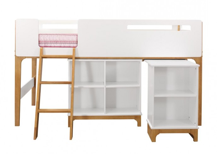 childrens kids mid sleeper cabin bed with pull out desk and shelving unit