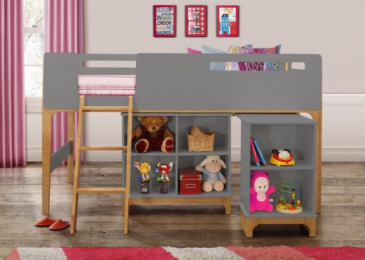3ft single cabin bed mid sleeper grey and oak