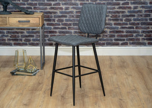 Grey industrial bar stool metal black leg
