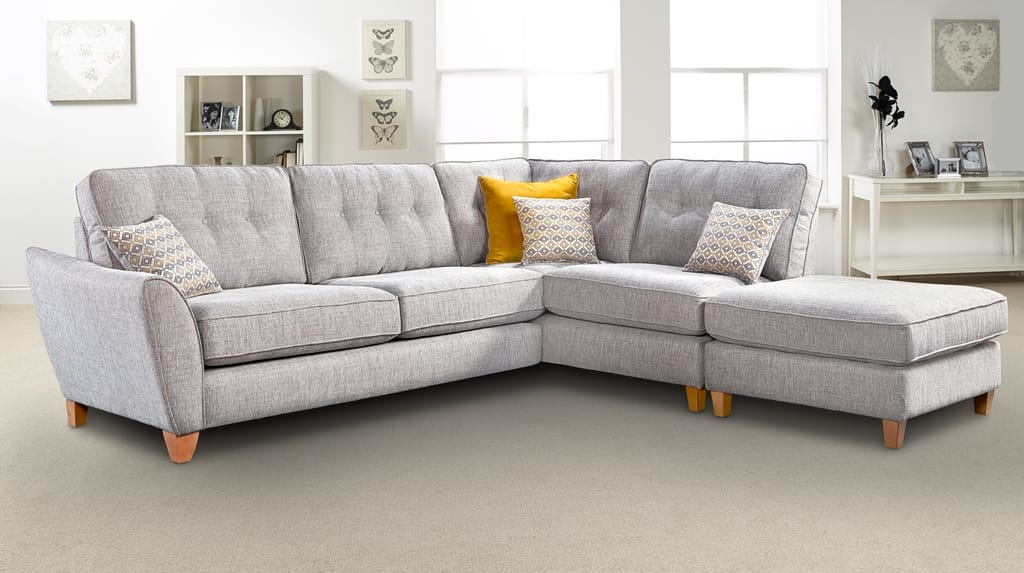 grey fabric corner sofa chaise