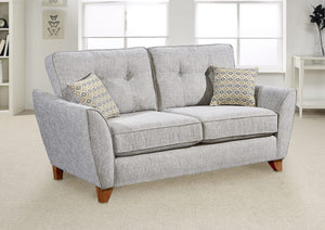 2 seater grey fabric sofa with button detail