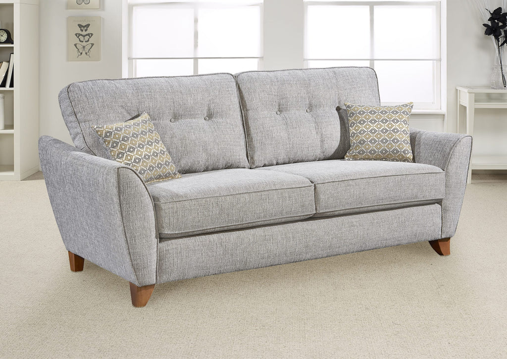 3 seater sofa grey fabric scatter cushions
