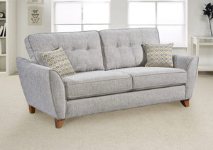 3 seater grey fabric sofa with scatter cushions uk made