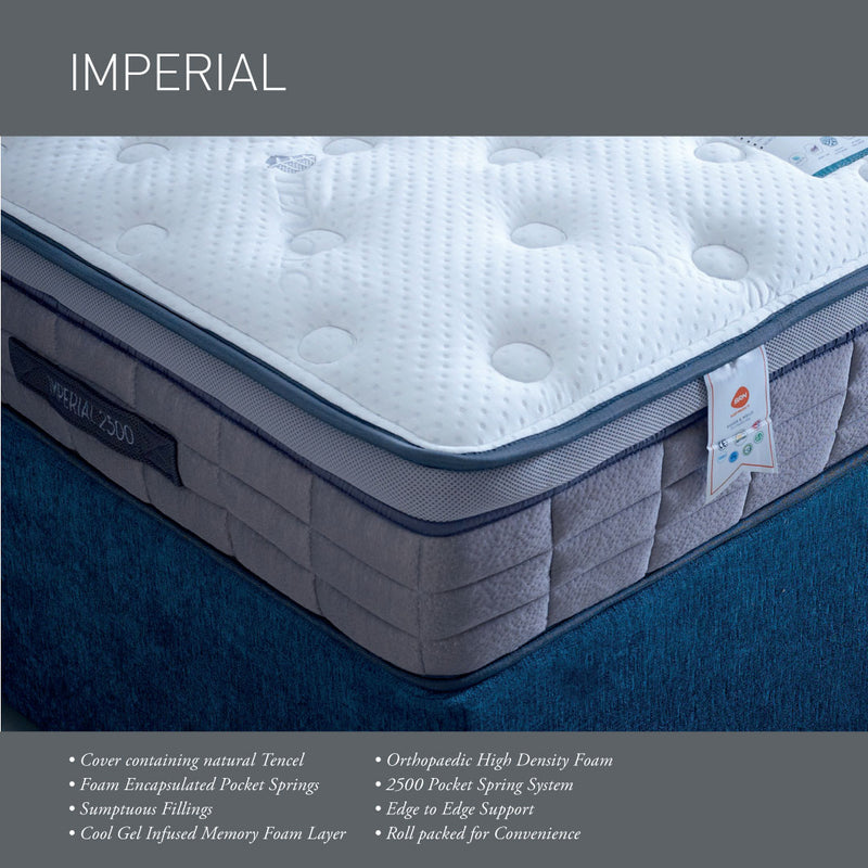 Imperial 2500 Pocket Sprung Gel Infused Memory Foam Rolled Mattress