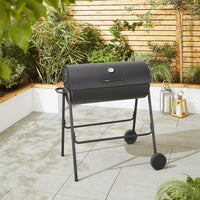 Black Steel Oil Drum Charcoal BBQ with Lid & Wheels