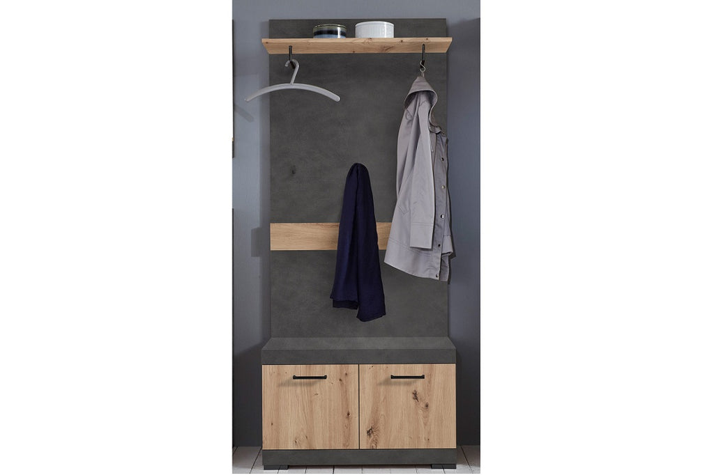 'Bristol' Cloakroom Hallway Furniture Unit Cupboard, Coat Shoe Storage Bench. FMD Furniture. Hallway Unit. Graphite Grey Stone Rustic Oak Storage Unit