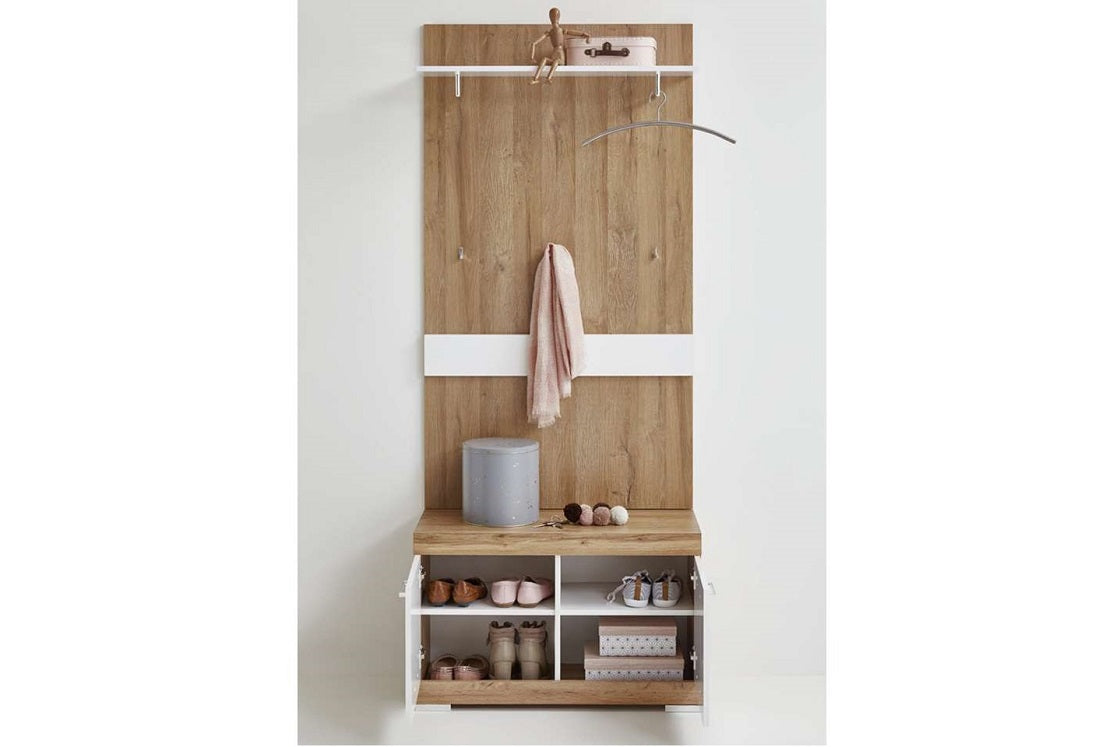 Picture of: Large Cloakroom Hallway Furniture Unit White Gloss Antique Oak Storage Cabinet Furniture For The Home
