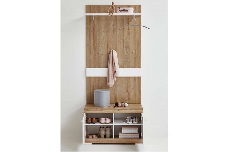 Large Cloakroom Hallway Furniture Unit  White Gloss & Antique Oak Storage Cabinet. Shoe Cabinet, Cloak Hanging Rails. Storage Bench